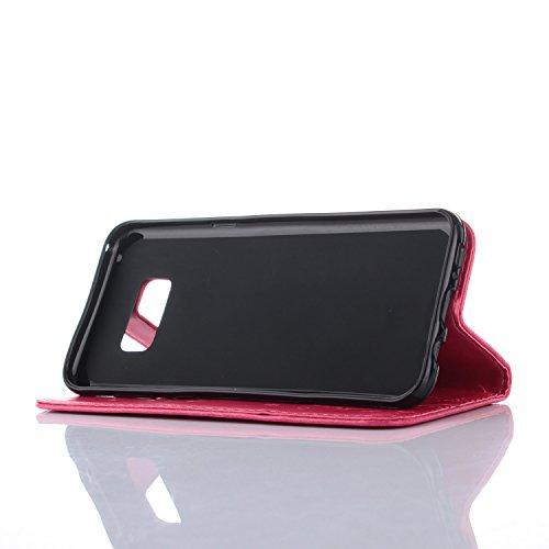 Carcasas y fundas Móviles, Para la caja del Samsung Galaxy S8 Plus, caja de cuero repujada del soporte de la cartera del tirón del cuero de la flor del diseño de la flor para Samsung Galaxy S8 más ( C Rose