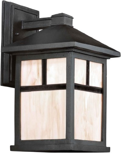 Forte Lighting 1873-01 Craftsman / Mission 1 Light Outdoor Wall Sconce from the, Black Review