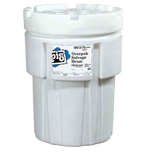 New Pig PAK384 Polyethylene Overpack Salvage Drum, 65 Gallon Storage Capacity, 27-3/4'' Diameter x 37-1/2'' Height, White