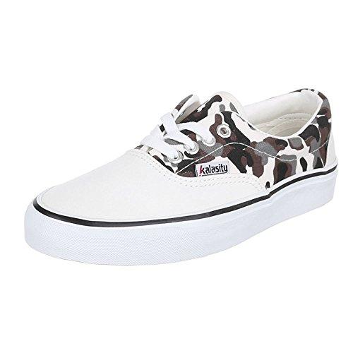Ital-Design - Zapatillas de tela para mujer Varios Colores - Weiß Multi