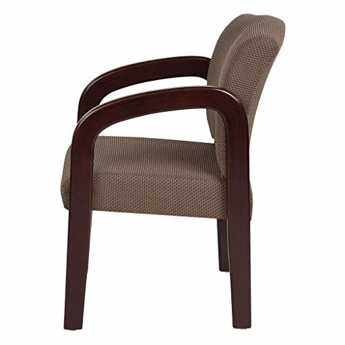 Taupe Visitors Arm Chair Made From Wood and Fabric, Mahogany Finish and Contemporary Style Included Cross Scented Candle Tart by O.S.P.