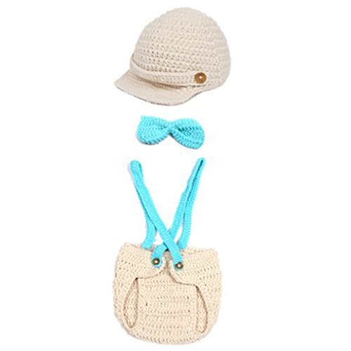 Feiuruhf Crochet Baby Photo Props Boy Girl Cap Beanie with Suspenders Bowtie Diaper Outfit