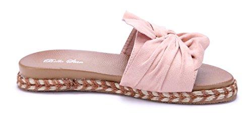 Schuhtempel24 Damen Schuhe Pantoletten Sandalen Sandaletten Flach Zierschleife Rosa