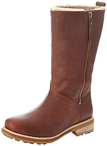 Tan Wool Boots - CLARKS Women's Cabin Spa Dark Tan Leather Wool Lined Mid Calf Boot 26110852 (6.5)