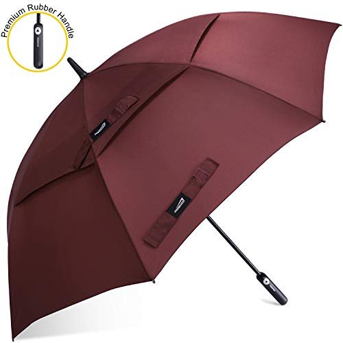 Promover 62 Inch Golf Umbrella Auto-Open Oversized Double Canopy Vented Windproof Waterproof Rubber Handle Stick Umbrellas(Wine Red)