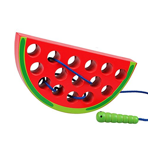 Lewo Wooden Learning Early Development Baby Toy Lacing Threading Fruits Educational Toys for Kids (Watermelon)