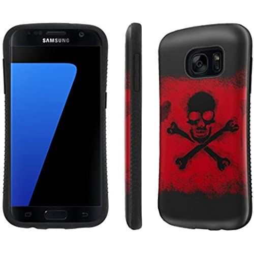 Galaxy [S7] Tough Designer Case [SlickCandy] [Black Bumper] Ultra Shock Absorbent - [Cross Skull] for Samsung Galaxy S7 / GS7 Sales