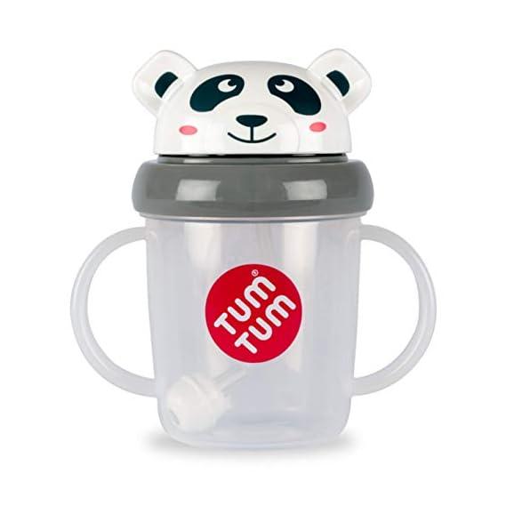 TUM TUM Pip Panda Tippy Up Sippy Cup (Grey, 200 ml)