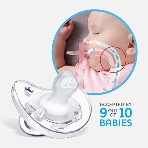 Chicco 100% Soft Silicone One Piece Pacifier for Babies 6-16 Months, Clear, Orthodontic Nipple, BPA-Free, 2-Count in Sterilizing Case