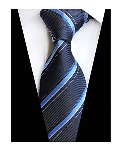 Men's Navy Blue Ties Ribbed Striped Patterned Graduation Student Silk Neckties