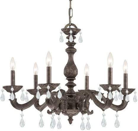 Crystorama 5036-VB-CL-MWP Crystal Accents Six Light Chandeliers from Sutton collection in Bronze Darkfinish,