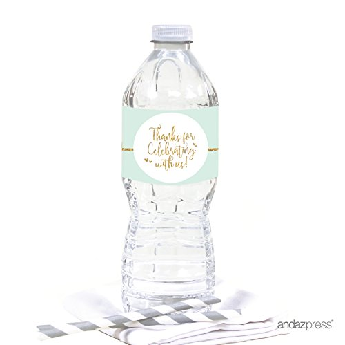 Andaz Press Mint Green Gold Glitter Print Wedding Collection, Water Bottle Label Stickers, 20-Pack