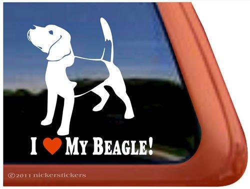 I Love My Beagle Dog Vinyl Window Auto Decal (Beagle Dog Sticker)