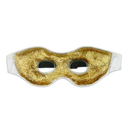 HiFineCare Gel Eye Mask Hot Cold Therapy, Cooling Gel Eye Mask, Cold Compress for Puffy Eyes, Sinus (Golden Glitter Gel mask)