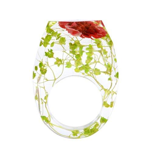 VEINTI+1 Original Design Diamond Shape Fresh Style Dried Flowers Handmade Resin Ring for Women/Girls -
