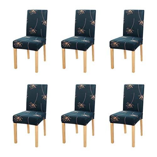 DEBRICKS 6 PCS Stretch Chair Cover for Dining Room Printed Kitchen Removable Seat Cover for Banquet Restaurant Party Chair Slipcover