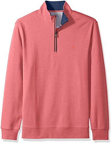 (IZOD Men's Saltwater 1/4 Zip Long Sleeve Fleece, Rapture Rose, Large)