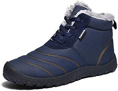メンズ暖かいとベルベットの雪のブーツは、オックスフォードの布防水アッパー滑り止めの摩耗ラバーソールの綿のブーツをライニングぬいぐるみ (色 : 青, サイズ : 28 CM)
