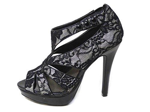High-Heel-Stiefelette mit Plateausohle für Damen, mit Reißverschluss, Schuhgrößen Black Lace (80726-13)