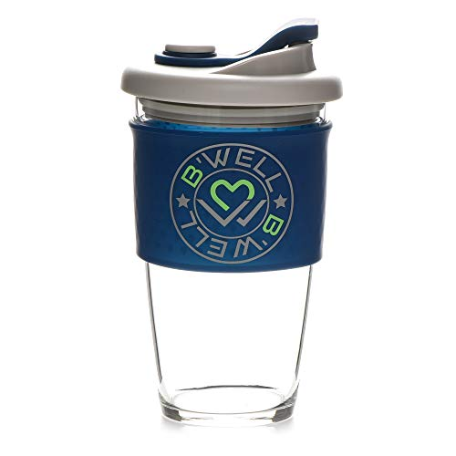 B'WELL Reusable Coffee Cup - Glass Travel Mug - with Silicone Straw - Tea Travel Mug - Spill Proof Lid - Dishwasher and Microwave Safe (Navy Blue,16 Ounces) (Best Spill Proof Travel Mug)