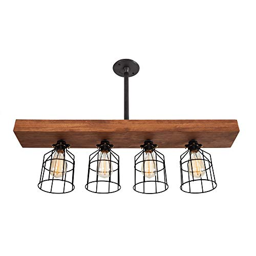 West Ninth Vintage Pendant Farmhouse Chandelier Fixture - Fayette Triple Wood Beam Light - Rustic Lighting for Kitchen Island Lighting, Dining Room, Bar - Wooden Vintage Light with Edison Cages