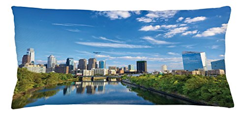 Lunarable USA Throw Pillow Cushion Cover, Schuylkill River in Philadelphia Pennsylvania United States Foliage Bushes Greenery, Decorative Accent Pillow Case, 36 X 16 Inches, Tan Blue Green