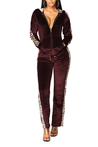 (Women's 2 Piece Soft Velour Hoodie & Straight Leg Drawstring Pant Tracksuit Set Ruby S)
