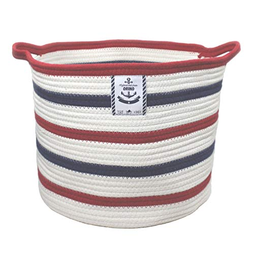 Orino Large Cotton Rope Storage Baskets with Handle Soft Durable Laundry Baskets Nursery Hamper Organizer for Kids' Toys Home Decorations Blanket Basket (15.8x15x11.8 inch, Blue and Red Stripe) ()