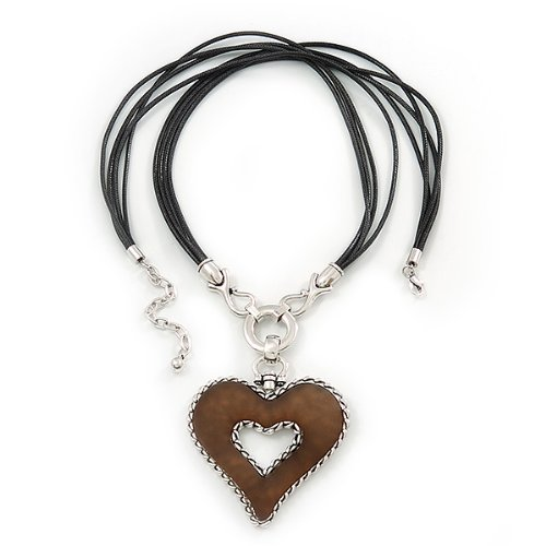 72cm Length// 8cm Length Avalaya Large Resin Open Heart Pendant On Black Cords in Rhodium Plating