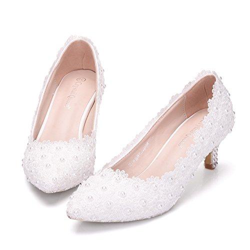 Alti Pizzo matrimonio scarpe con damigella Qingchunhuangtang tacchi di pattino white Tacchi HwBqFFPpa