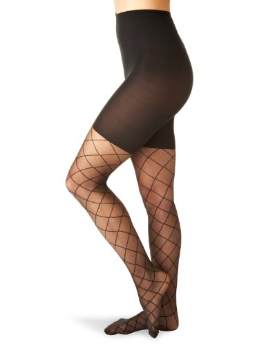 SPANX Sheer Fashion Shaping Diamond Patterned Pantyhose, D, Black