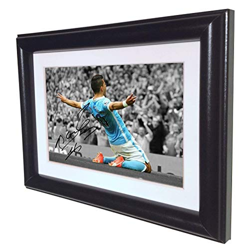 Manchester City Photo - Signed Black Soccer Sergio Aguero Manchester City Autographed Photo Photograph Picture Frame Gift SM