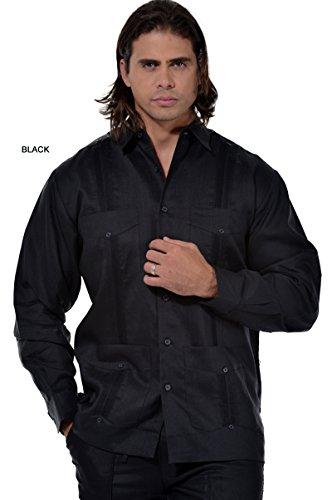 Men's Guayabera Linen Traditional 4-Pocket Long Sleeved Shirt in (8) Colors (MLS501-P2)-Black-M