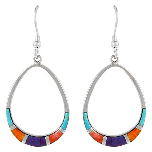 925 Sterling Silver Earrings Genuine Turquoise & Gemstones Pear-Shape Drop Dangles (Multi)