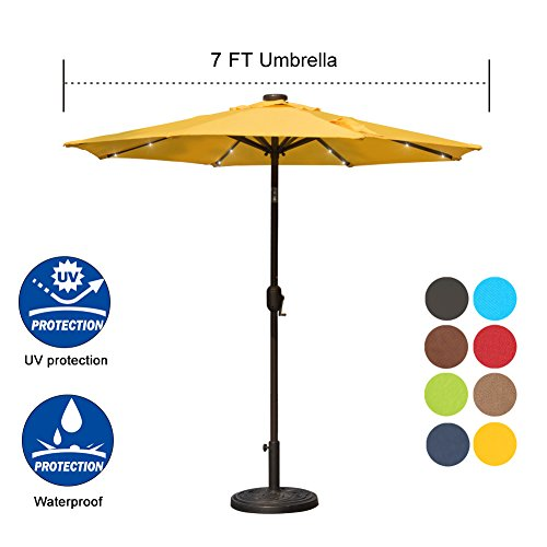 Sundale Outdoor 7 ft Solar Powered 24 LED Lighted Patio Umbrella Table Market Umbrella with Crank and Push Button Tilt for Garden, Deck, Backyard, Pool, 8 Steel Ribs, Polyester Canopy (Yellow) by Sundale Outdoor