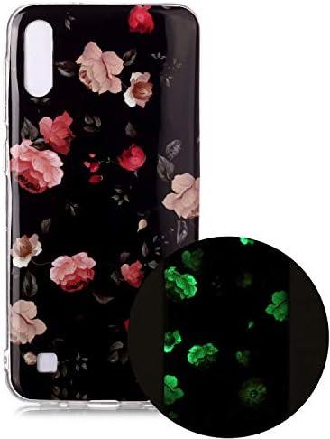 Miagon Leuchtend Luminous Hülle für Samsung Galaxy A01,Fluoreszierend Licht im Dunkeln Handyhülle Silikon Case Handytasche Stoßfest Schutzhülle,Rosa Blume