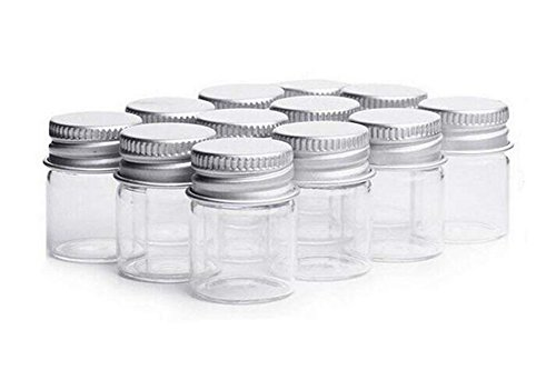 (5ml Clear Glass Bottles Candy Bottle with Aluminum Screw Cap Cute Empty Sample Jars Small Containers Vials For Cosmetic Makeup Message Wedding Favors Wedding decorations Jewelry Accessories 12Pcs )