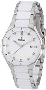 Festina F16399/1 - Reloj analógico de pulsera para mujer (mecanismo de cuarzo, esfera blanca y correa de acero inoxidable multicolor)