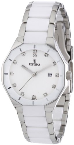 Festina Women's Date Display White Dial Crystals Ceramic Strap Watch F163991