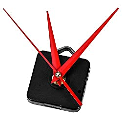 Mudder Hands Clock Movement, 3/25 Inch Maximum Dial Thickness, 1/2 Inch Total Shaft Length (Red)