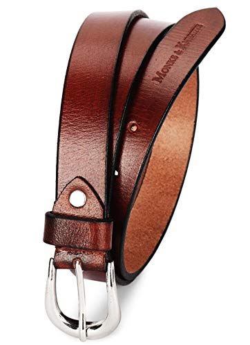 MONKS & KNIGHTS Women's Cocoa Brown Belt Italian Raw Leather Premium Formal Casual Slim Belts For Ladies With Chrome Buckle 1 Inch (24mm) (CALDTN)
