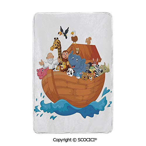 SCOCICI Ultra Comfortable,Cozy and Warm Carpet Blanket Noahs Ark Cartoon Style Mammals Smiling Transport in Only Ship Artwork Print No Colour Fading Rug One Side Printed