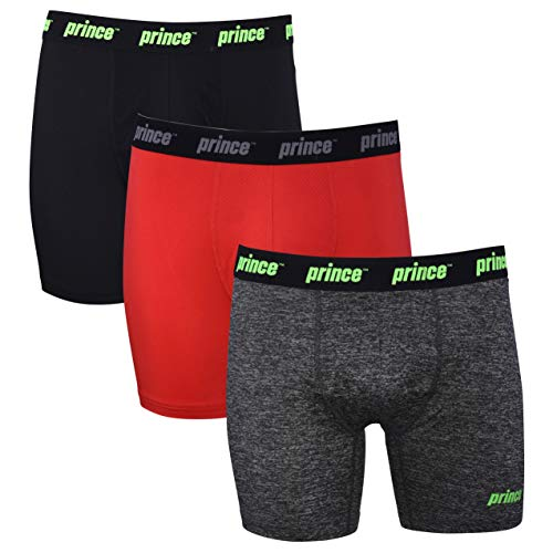 prince Mens Performance Boxer Briefs - 3-Pack Performance Fit Stretch Underwear No Fly Breathable Moisture Management