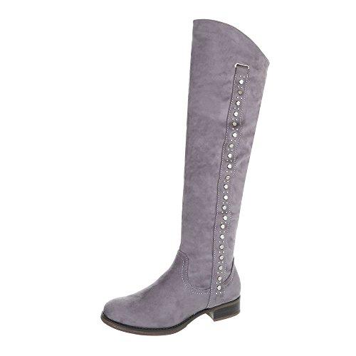 Ital-Design Klassische Stiefel Damenschuhe Klassische Stiefel Blockabsatz Blockabsatz Reißverschluss Stiefel Grau 990-PG
