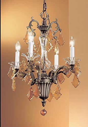 Classic Lighting 57104 RB SC Via Firenze, Crystal, Mini-Chandelier, Roman Bronze