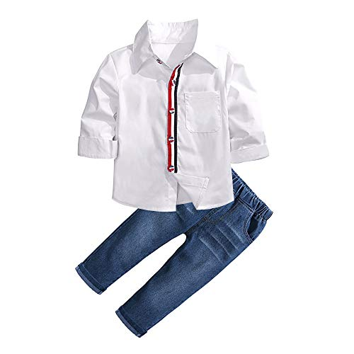 Baby Boys Gentleman Clothing Set Jeans + Long Sleeves Shirt 2pcs Newborn Outfits Clothes 4T