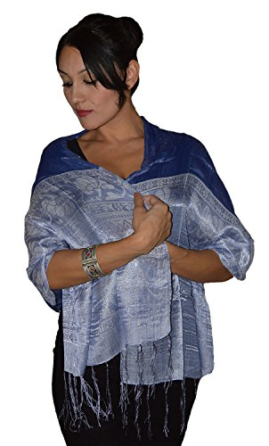 Moroccan Shoulder Shawl Breathable Oblong Head Scarf Silky Soft Exquisite Wrap Navy by Treasures of Morocco Shawls