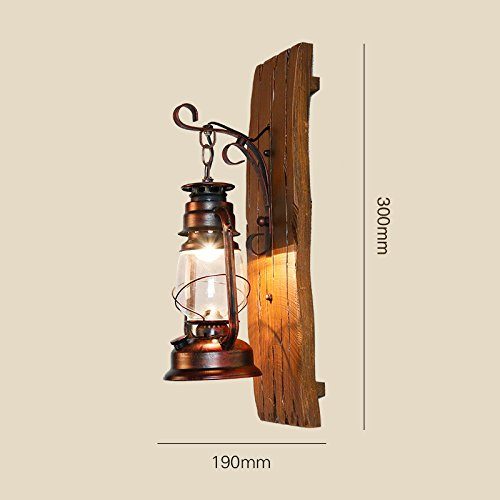 American Country Iron Wood Kerosene Lantern Creative Hand Carved Wooden Antique Mediterranean Glass Wall Lamp Light 190300Mm Outdoor Kids Living Room Bedroom Wedding Birthday Party Gift by GAW Lighting Co.Ltd (Image #3)