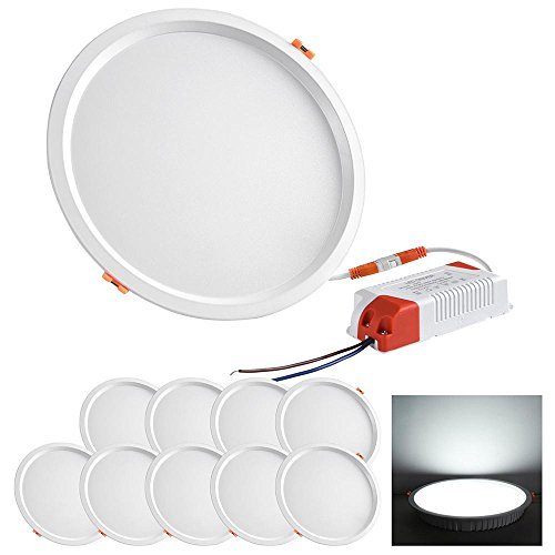 Yescom 8'' 30W LED Down Light, 6000K Cool White, 2800LM, Home Office Retrofit LED Recessed Lighting Fixture, 10 Pack by Yescom