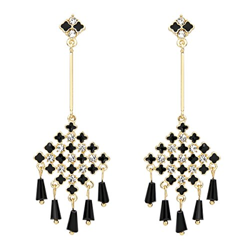 Lova Jewelry Chandelier Black Charms Clear Crystals Gold Tone Metal Dangle -